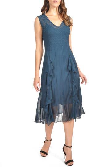 Komarov Ruffle Midi Dress, Blue