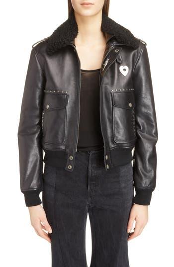 Saint Laurent Leather Flight Jacket With Genuine Shearling Collar, Black