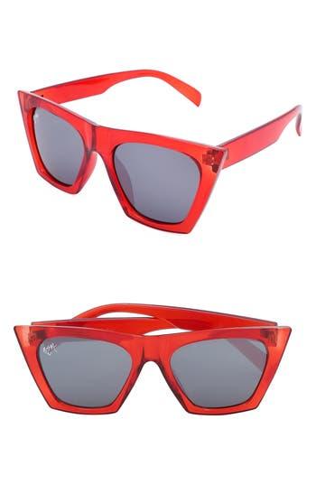 Unique Retro Vintage Style Sunglasses & Eyeglasses Womens Nem Posh 50Mm Gradient Angular Sunglasses - Red Clear W Grey Tinted Lens $65.00 AT vintagedancer.com