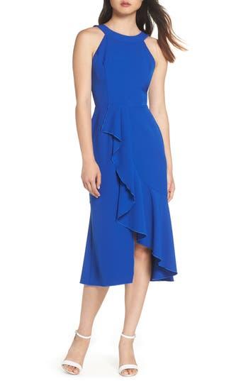 Charles Henry Flounce Hem Midi Dress, Blue
