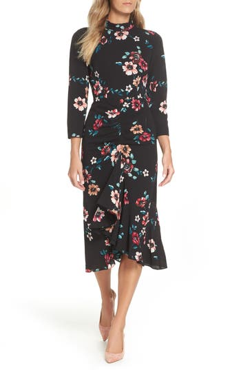 Eliza J Floral Ruffle Midi Dress, Black