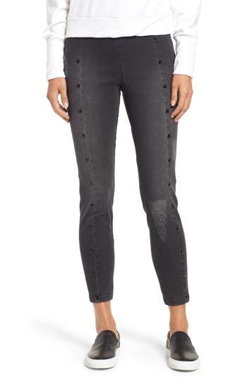 Zeza B By Hue Studded High Waist Denim Leggings, Grey