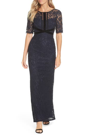 Adrianna Papell Lace Gown, Blue
