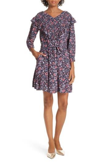La Vie Rebecca Taylor Floral Ruffle Toile Dress, Purple