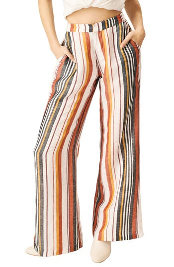Vintage High Waisted Trousers, Sailor Pants, Jeans Womens Stone Row Hook It Up Stripe Pants $88.00 AT vintagedancer.com