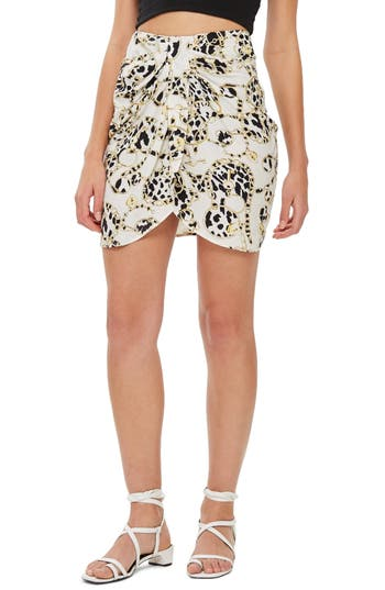 Topshop Chain Print Miniskirt, US (fits like 0) - White