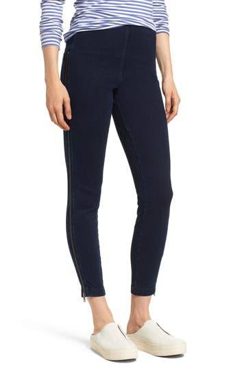 Lysse Zip Denim Leggings, Blue