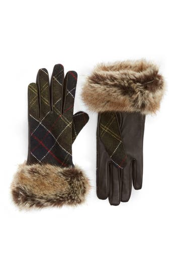 Barbour Linton Leather & Wool Gloves, Brown