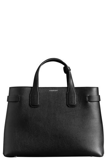 Burberry Medium Banner Leather Tote - Black
