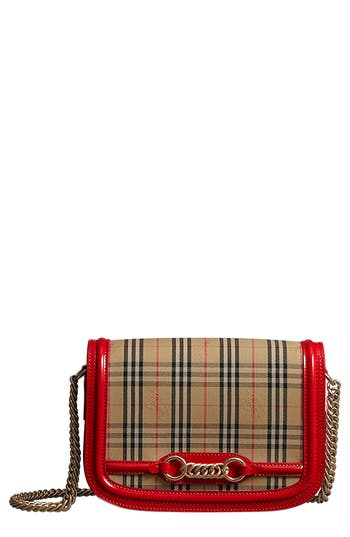 Burberry Vintage Check Link Flap Crossbody Bag - Red