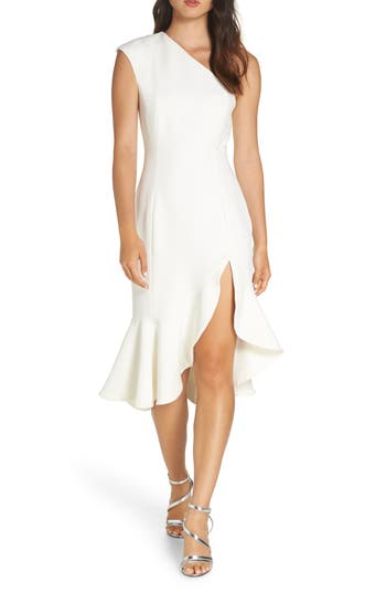 Keepsake The Label Mirrors One-Shoulder Asymmetrical Dress, Ivory