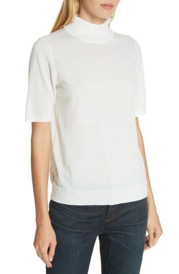 Eileen Fisher Merino Wool Mock Neck Sweater, White