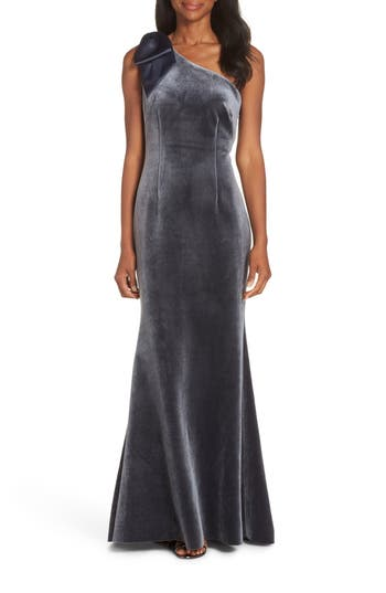 Eliza J Bow One-Shoulder Velvet Gown, Grey