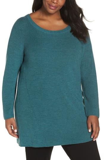 Plus Size Eileen Fisher Merino Wool Tunic Sweater, Green