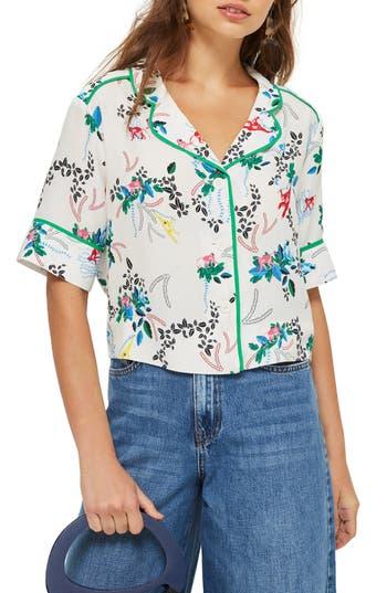 Topshop Monkey Print Pajama Shirt, US (fits like 0) - White
