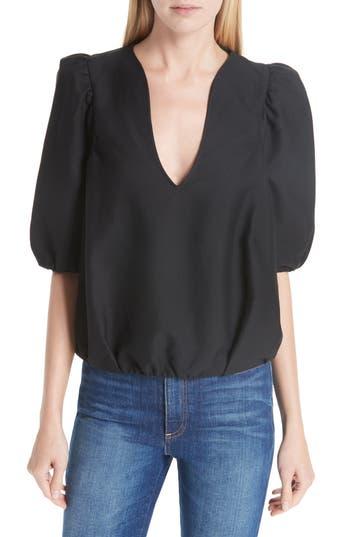 Petra Cotton Blend Puff Sleeve Blouse, Black