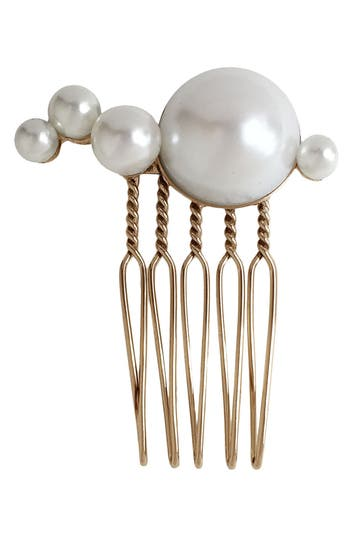 LELET NY Mercury Imitation Pearl Comb in Antique Gold