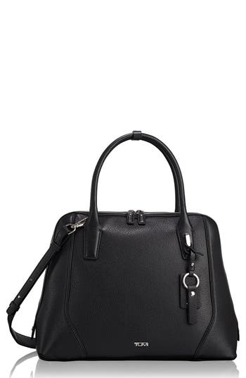 Stanton Janet Leather Dome Satchel Briefcase - Black, Gray