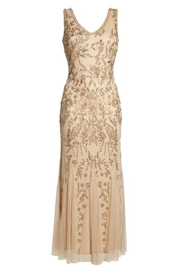 1920s Style Dresses, Flapper Dresses Pisarro Nights Embellished Mesh Gown Size 16P - Pink $238.00 AT vintagedancer.com