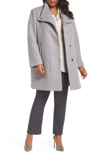 Plus Size Kenneth Cole New York Pressed Boucle Coat, Grey