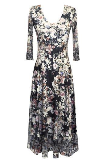 Komarov Lace Sleeve Charmeuse Midi Dress, Black