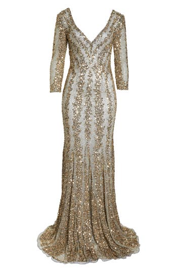 1930s Evening Dresses | Old Hollywood Dress MAC Duggal Sequin Gown $578.00 AT vintagedancer.com