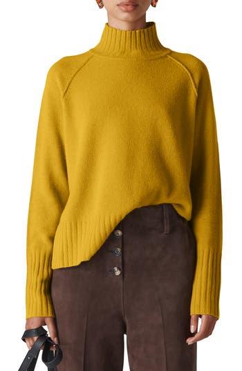 Whistles Funnel Neck Merino Wool Sweater, Yellow