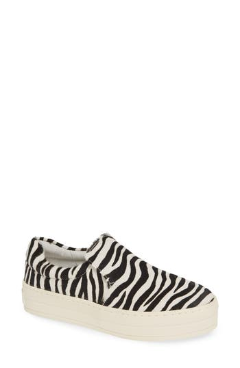 Jslides Harry Genuine Calf Hair Slip-On Sneaker, Black