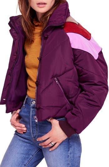Heidi Ski Cropped Puffer Jacket in Wine