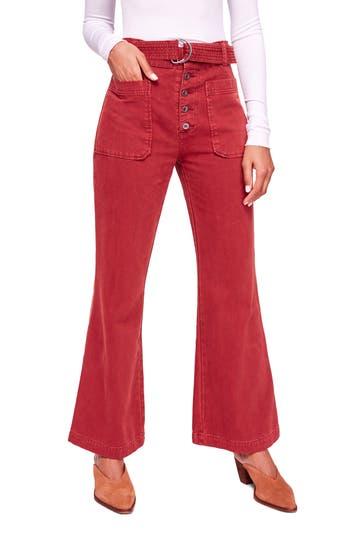Free People Corin Mod Slim Flare Pants, Red