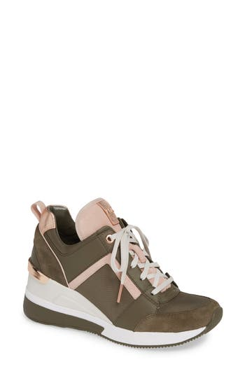 Georgie Wedge Sneaker, Olive Fabric