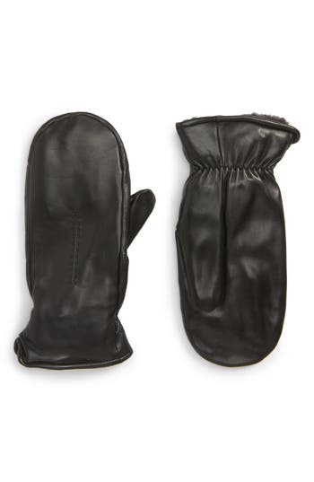 Nordstrom Faux Fur Lined Leather Mittens, Black