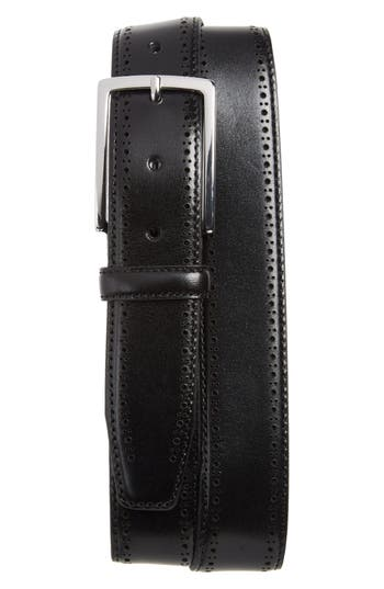 Big & Tall Nordstrom Shop Lowell Leather Belt, Black