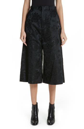 Floral Jacquard Culottes in Black
