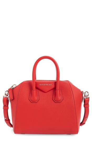 Givenchy 'Mini Antigona' Sugar Leather Satchel - Red