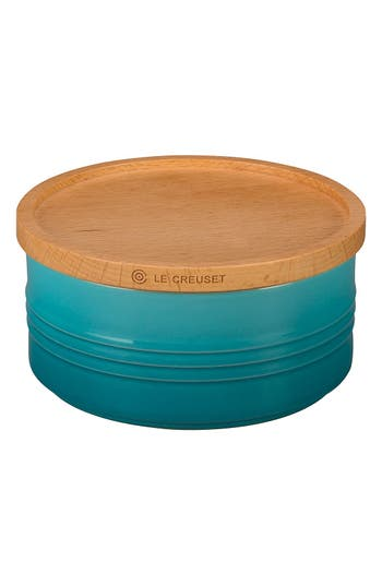 Le Creuset Glazed Stoneware 23 Ounce Storage Canister With Wooden Lid, Size One Size - Blue/green