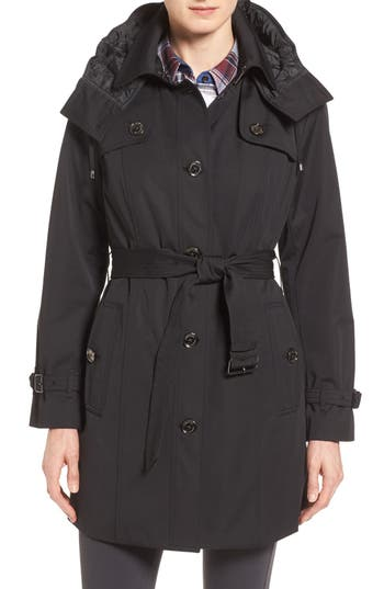 Petite Women's London Fog Single Breasted Trench Coat