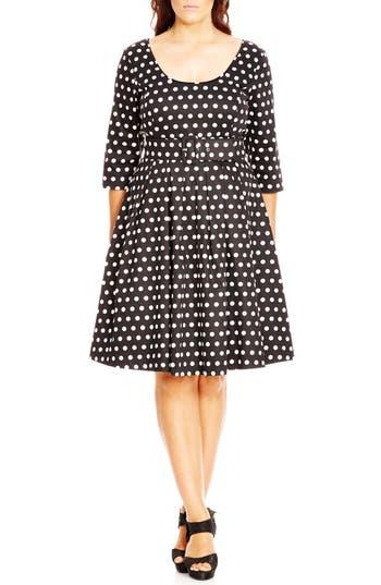1960s Plus Size Dresses & Retro Mod Fashion Plus Size Womens City Chic Mod Spot Print Fit  Flare Dress Size X-Large - Black $104.30 AT vintagedancer.com