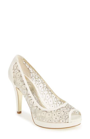 Vintage Inspired Wedding Dress | Vintage Style Wedding Dresses Womens Adrianna Papell Foxy Crystal Embellished Peeptoe Pump Size 9.5 M - Ivory $139.95 AT vintagedancer.com
