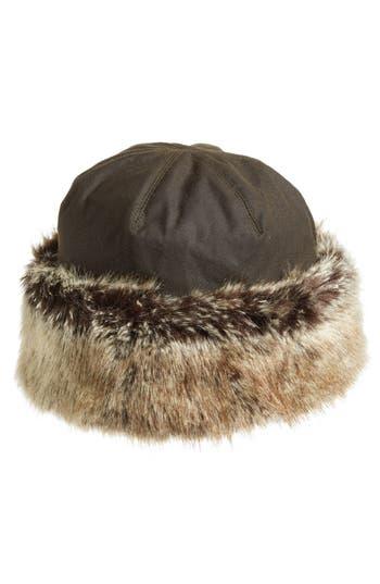 Women's Barbour 'Ambush' Waxed Cotton Hat With Faux Fur Trim - Green