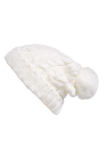 Women's Bp. Knit Beanie With Faux Fur Pompom - White
