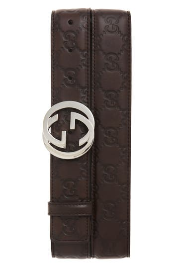 Men's Gucci Logo Buckle Calfskin Leather Belt, Size 115 EU - Dark Chocolate
