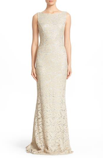 Carmen Marc Valvo Couture Sequin Lace Column Gown