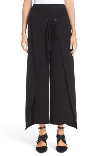 Women's Yigal Azrouël 'Giorgio' Wrap Front Wide Leg Pants