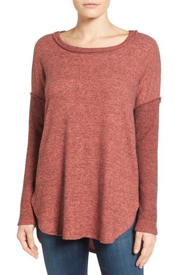 Women's Bobeau Rib Long Sleeve Fuzzy Sweatshirt, Size Medium - Pink