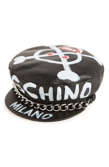 Women's Moschino Skulls Leather Cap -