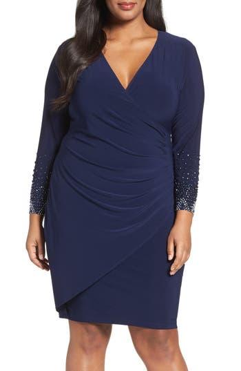 Plus Size Women's Marina Embellished Faux Wrap Dress, Size 22W - Blue