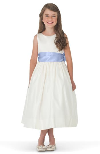 Girl's Us Angels Sleeveless Satin Dress With Contrast Sash, Size 4 - Blue