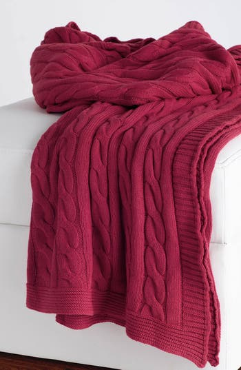 Rizzy Home Cable Knit Cotton Throw, Size One Size - Red