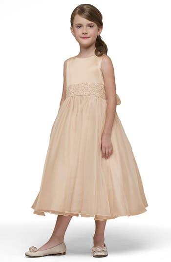 Girl's Us Angels Beaded Satin Sleeveless Dress